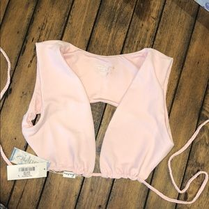 Frankie's Bikini Shea Ribbed Top Rose Water